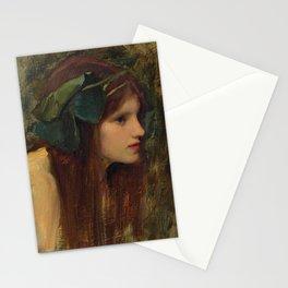 "John William Waterhouse ""Female head study for 'A Naiad'"" Stationery Cards"