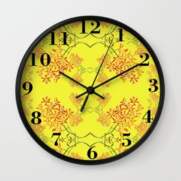 Orchids on Yellow Wall Clock