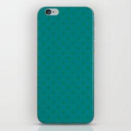 Cadmium Green on Teal Green Snowflakes iPhone Skin