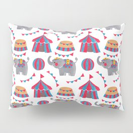 Colorful red blue gray watercolor elephant circus pattern Pillow Sham