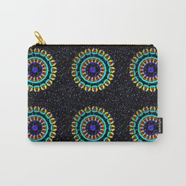Kaleidoscope Patterns Against Black Carry-All Pouch