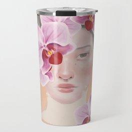 Girl Orchid Flower Travel Mug