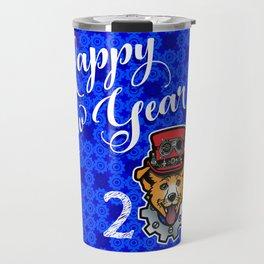 Happy New Year 2018 Yellow Dog Travel Mug