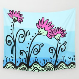 Three Spring Flowers - Blue Wall Tapestry