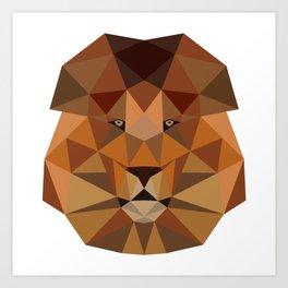 Lion head geometric polygon gift idea line hipster Art Print