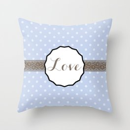 Periwinkle Blue Polka Dot and Lace LOVE Throw Pillow