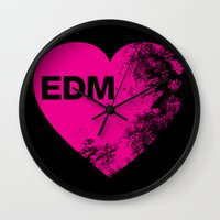 edm Wall Clocks featuring EDM Heart by DropBass