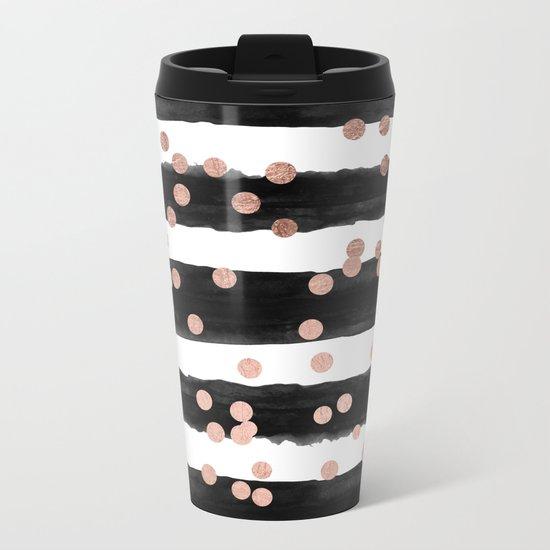 Girly rose gold confetti black watercolor stripes Metal Travel Mug