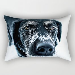 Snow Dog // Cross Country Skiing Black and White Animal Photography Winter Puppy Ice Fur Rectangular Pillow