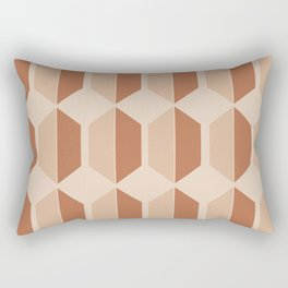 Hexagonal Pattern VII Terracotta Rectangular Pillow