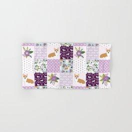 Corgi Patchwork Print - purple ,florals , floral, spring, girls feminine corgi dog Hand & Bath Towel