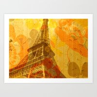 eiffel Art Prints featuring Eiffel by 3crows