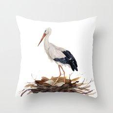 Watercolor white stark Throw Pillow