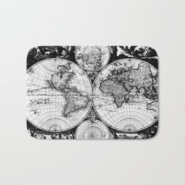 Vintage Map of The World (1685) Black & White Bath Mat