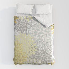 Floral Prints, Soft, Yellow and Gray, Modern Print Art Comforters