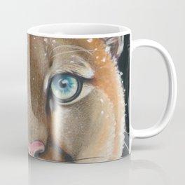 Cougar Mountain Lion Pastel Drawing Snow Coffee Mug