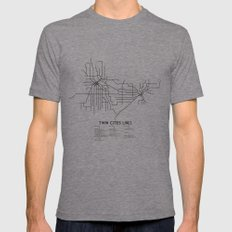 Twin Cities Lines Map Tri-Grey Mens Fitted Tee MEDIUM