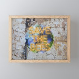 Save the Bees - Neon Framed Mini Art Print