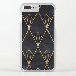 Black & Gold Geometric Art Deco Pattern Seamless Vintage Glamorous 1920s Style Clear iPhone Case