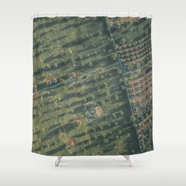 Aerial photography, italian landscape, drone photo, olive trees, Puglia, Apulia Shower Curtain