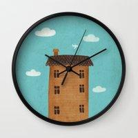 plane Wall Clocks featuring Plane by Oksana Tarasova