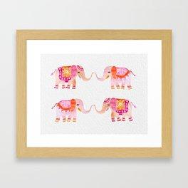HAPPY ELEPHANTS - WATERCOLOR Framed Art Print