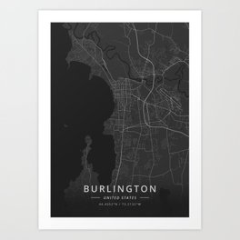Burlington, United States - Dark Map Art Print