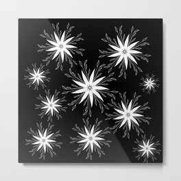 Floating In The Breeze - Black & White Floral Pattern Metal Print