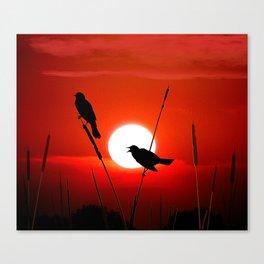 Blackbirds On Red Sunset. Canvas Print