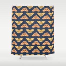 Luna Moth Yellow Navy Shower Curtain