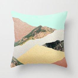 Metallic Mountains Throw Pillow