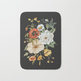 Wildflower Bouquet on Charcoal Bath Mat