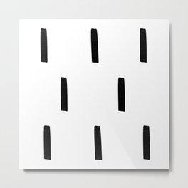 Black and White Dash Pattern Metal Print