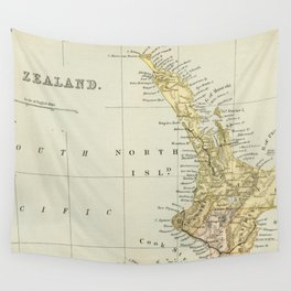 Vintage Map of New Zealand Wall Tapestry