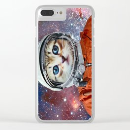 Astronaut Cat #4 Clear iPhone Case