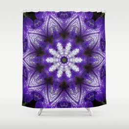 Glowing Violet Star - Iris Stepping Out Kaleidoscope Shower Curtain