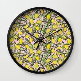 Lemons for pink lemonade Wall Clock