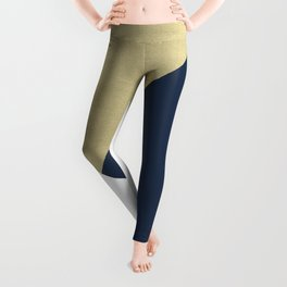 Gold meets Navy Blue & White Geometric #1 #minimal #decor #art #society6 Leggings