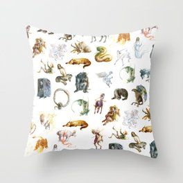 ABC of Magical Creatures Throw Pillow