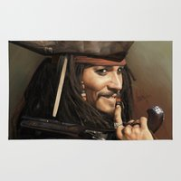 jack sparrow Area & Throw Rugs featuring Jack Sparrow by Hernán Castellano