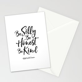 ralph waldo emerson,be silly be honest be kind,nursery decor,quote prints,wall art,quote printable Stationery Cards