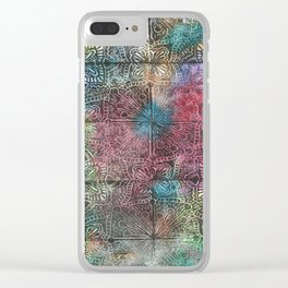 Tiled Starburst Floral Blockprint Clear iPhone Case