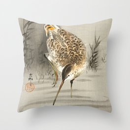 Snipe in the water - Vintage Japanese Woodblock Print Art Throw Pillow