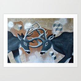 Deer Cubed Art Print