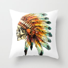 Skull Colorful Chief Throw Pillow