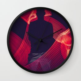 red-led-light-with-silhouette-of-a-man Wall Clock