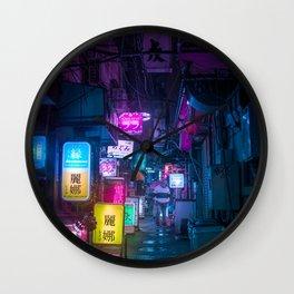 Cyberpunk city underground Wall Clock