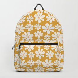 Floral Daisy Pattern - Golden Yellow Backpack