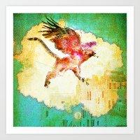 mythology Art Prints featuring Gryphon mythology by Ganech joe