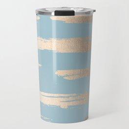 Abstract Paint Stripes Gold Tropical Ocean Sea Blue Travel Mug